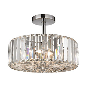 Clearview Polished Chrome Three-Light Semi Flush Mount