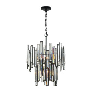 Lineo Matte Black 18-Inch Six-Light Chandelier