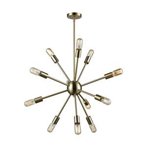 Delphine Satin Brass 27-Inch Twelve-Light Pendant
