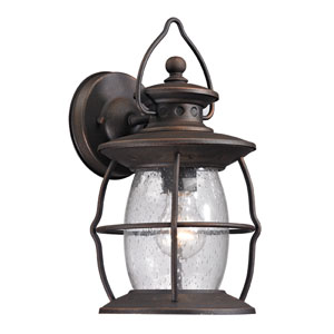 Village Lantern Weathered Charcoal 13-Inch One Light Outdoor Wall Sconce