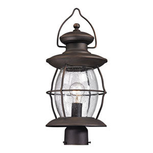 Village Lantern Weathered Charcoal One Light Post Mount