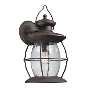 Village Lantern Weathered Charcoal One Light Outdoor Wall Sconce