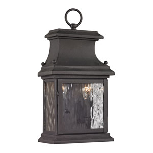 Forged Provincial Charcoal 14-Inch Two Light Outdoor Wall Sconce