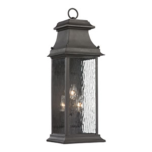 Forged Provincial Charcoal 23-Inch Three Light Outdoor Wall Sconce