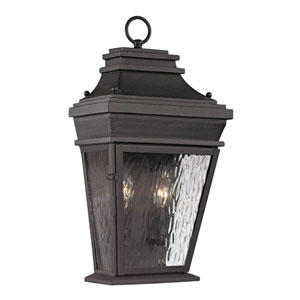 Forged Provincial Charcoal Two Light Outdoor Wall Sconce