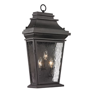 Forged Provincial Charcoal 22-Inch Three Light Outdoor Wall Sconce