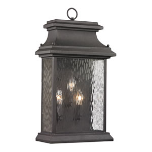 Forged Provincial Charcoal Three Light Outdoor Wall Sconce