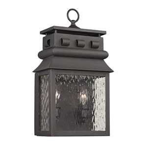 Forged Lancaster Charcoal 18-Inch Two Light Outdoor Wall Sconce