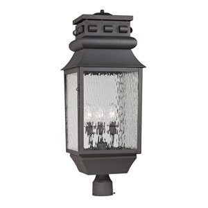 Forged Lancaster Charcoal Three Light Post Mount