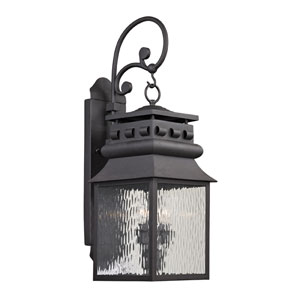 Forged Lancaster Charcoal 26-Inch Two Light Outdoor Wall Sconce