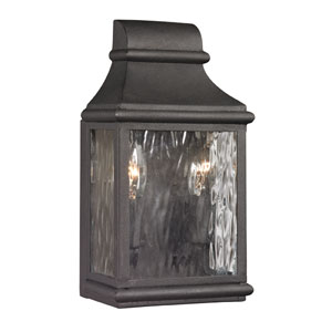 Forged Jefferson Charcoal 11-Inch Two Light Outdoor Wall Sconce