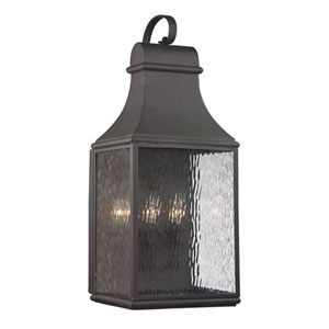 Forged Jefferson Charcoal 27-Inch Three Light Outdoor Wall Sconce