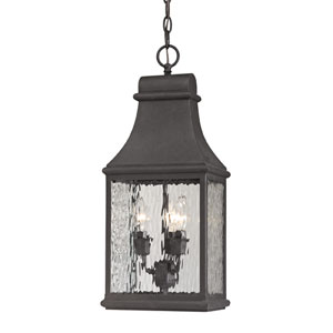 Forged Jefferson Charcoal Three Light Outdoor Pendant
