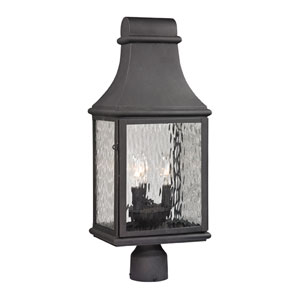 Forged Jefferson Charcoal Three Light Post Mount