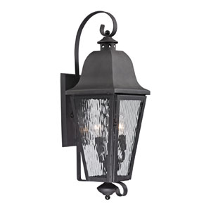 Forged Brookridge Charcoal Three Light Outdoor Wall Sconce