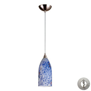 Verona One Light Pendant In Satin Nickel And Starlight Blue Glass Includes w/ An Adapter Kit