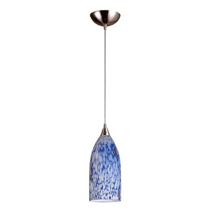 Verona One Light LED Pendant In Satin Nickel And Starlight Blue Glass