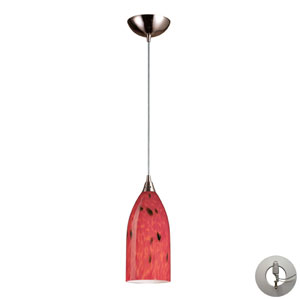 Verona One Light Pendant In Satin Nickel And Fire Red Glass Includes w/ An Adapter Kit