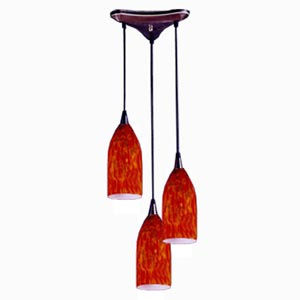 Verona Fiery Red Three Light Mini Pendant