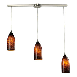 Verona Satin Nickel Three-Light Mini Pendant with Espresso Glass