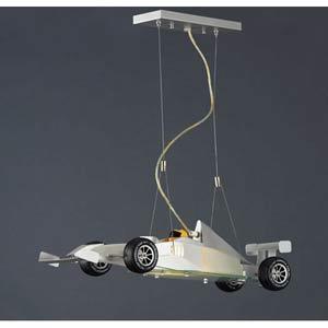 Race Car Satin Nickel Pendant