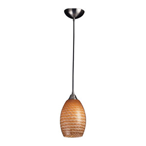 Mulinello One Light LED Pendant In Satin Nickel With Coco Glass