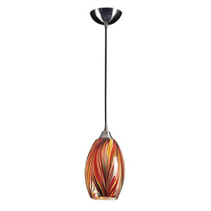 Mulinello One Light LED Pendant In Satin Nickel With Multi-Colored Swirled Glass
