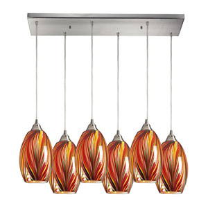 Mulinello Satin Nickel Six-Light Pendant