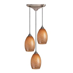 Mulinello Satin Nickel Three-Light Mini Pendant with Coco Glass