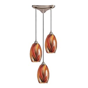 Mulinello Satin Nickel Three-Light Mini Pendant with Multi Glass