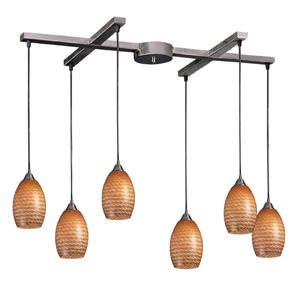Mulinello Satin Nickel Six-Light Mini Pendant with Coco Glass