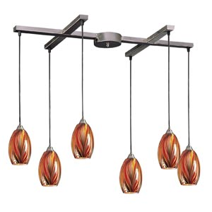 Mulinello Satin Nickel Six-Light Mini Pendant with Multi Glass