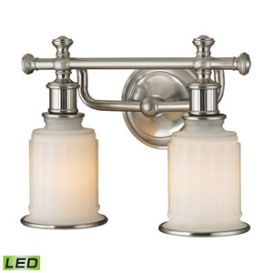 Acadia Brushed Nickel LED Two Light Bath Fixture