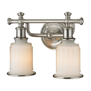 Acadia Brushed Nickel Two Light Bath Fixture