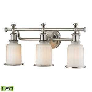 Acadia Brushed Nickel LED Three Light Bath Fixture