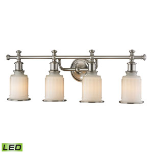 Acadia Brushed Nickel LED Four Light Bath Fixture
