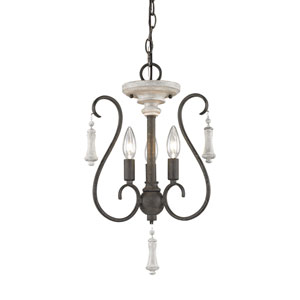 Porto Cristo Palermo Rust 14-Inch Three-Light Chandelier