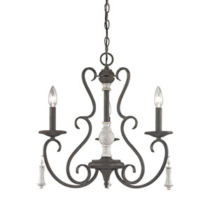 Porto Cristo Palermo Rust 20-Inch Three-Light Chandelier