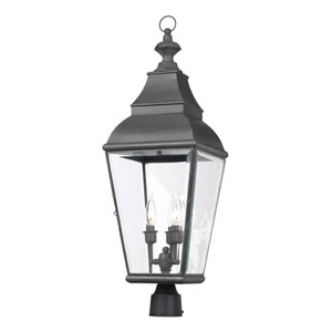 Bristol Charcoal Three-Light Outdoor Post Lantern