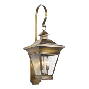 Reynolds Oiled Rubbed Brass Three Light Outdoor Sconce