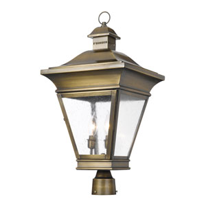 Reynolds Oiled Rubbed Brass Three Light Outdoor Post Light
