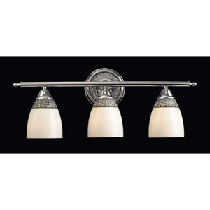 Diamante Mosaic Polished Chrome Three-Light Bath Fixture