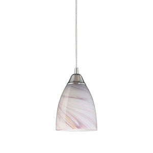 Pierra Satin Nickel Mini Pendant with Creme Glass