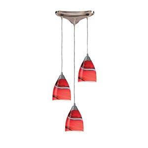 Pierra Satin Nickel Three-Light Mini Pendant with Candy Glass