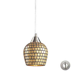 Tromba One Light Pendant In Satin Nickel And Gold Mosaic Glass Includes w/ An Adapter Kit