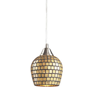 Fusion One Light LED Pendant In Satin Nickel And Gold Mosaic Glass