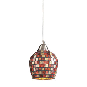Fusion One Light LED Pendant In Satin Nickel And Multi Mosaic Glass