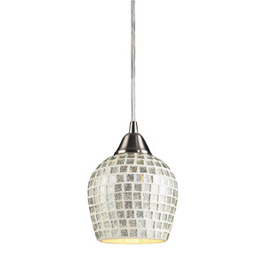 Fusion One Light LED Pendant In Satin Nickel And Silver Mosaic Glass