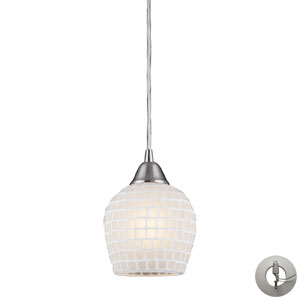 TrombaOne Light Pendant In Satin Nickel And White Mosaic Glass Includes w/ An Adapter Kit