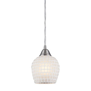 Fusion Satin Nickel White Mosaic Mini Pendant